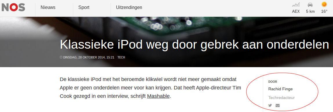 Screenshot van artikel op nieuwe nos.nl, met rechts in de rode cirkel de auteursnaam.