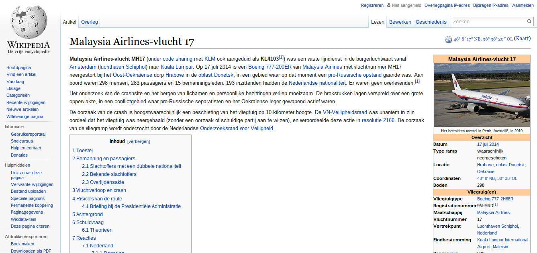 Wikipedia mh17